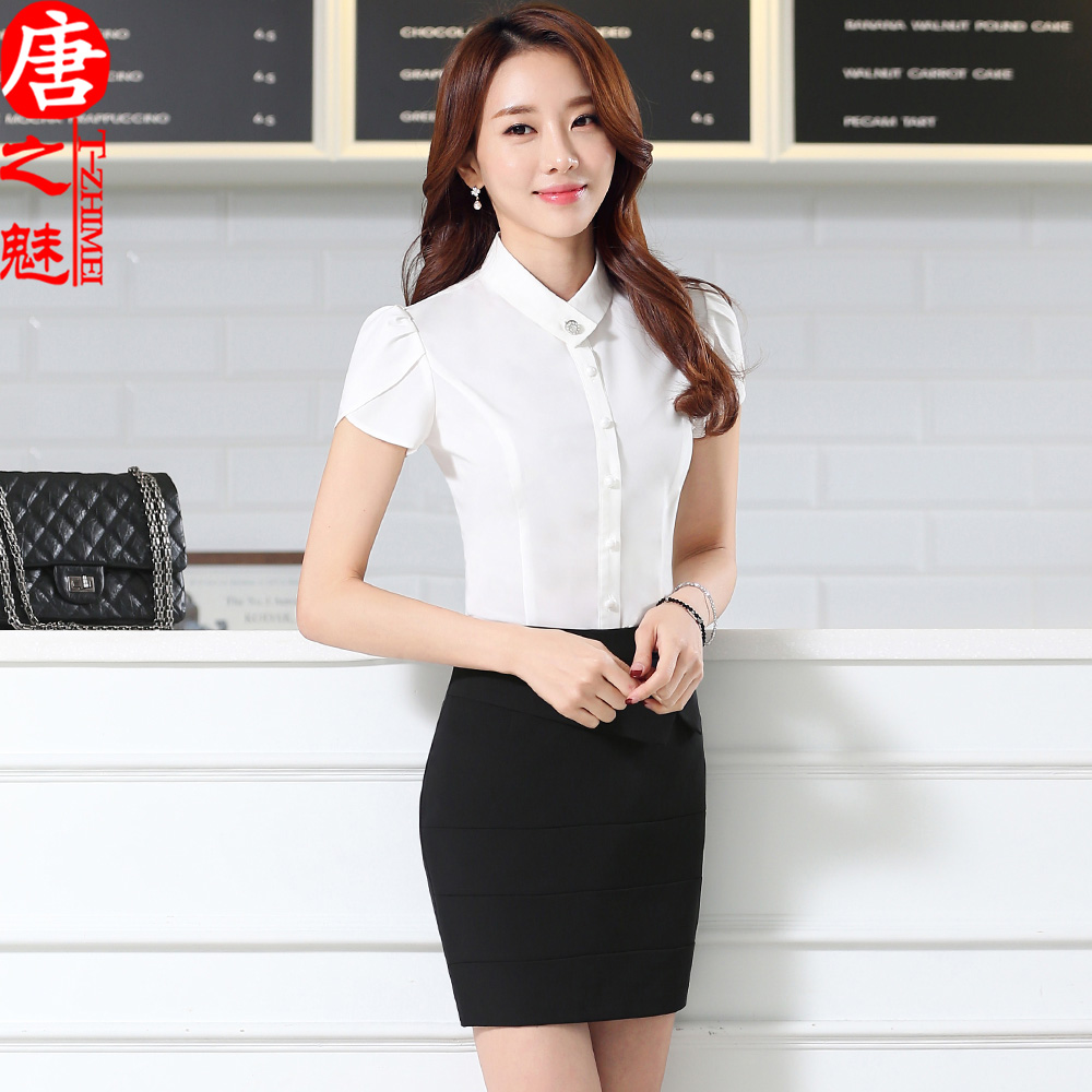 c5dbc193f8e Get Quotations · Summer wear work clothes short sleeve white shirt mobile  telecommunications stewardess hotel reception work clothes tooling