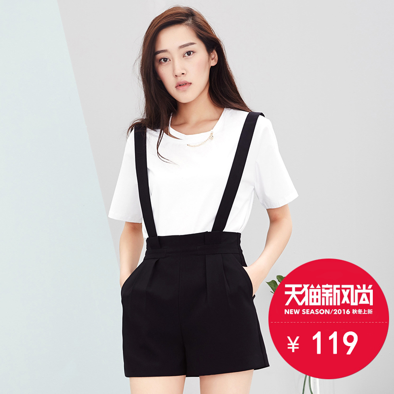 Summer women's fashion korean version of the strap black cotton shorts shorts female summer suspenders shorts female summer casual pants female tide