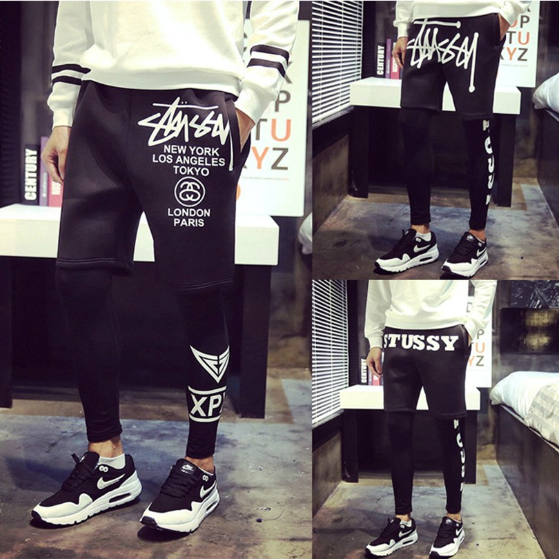 Summer youth sports pants male piece ran male hip-hop basketball pants thin section leggings fitness tight pants tide