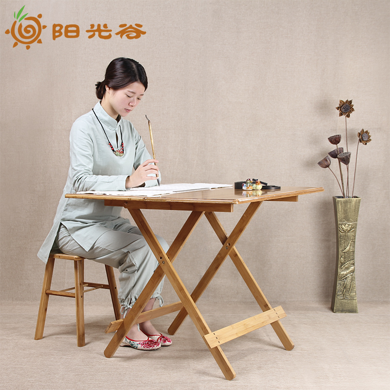 Sun valley bamboo small square table folding table portable outdoor dining table solid wood dining table simple small apartment