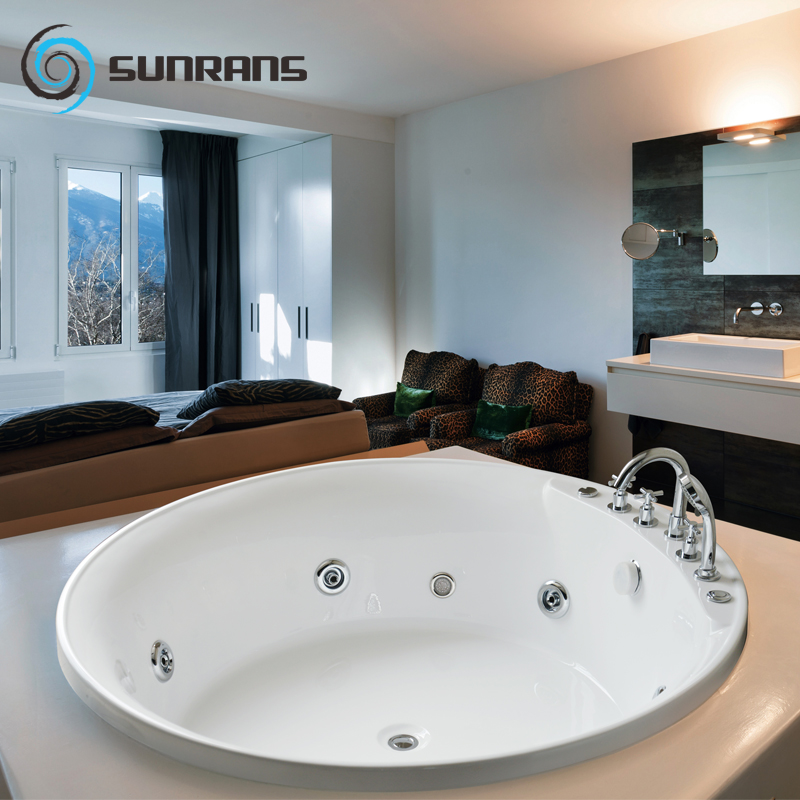 Sunrans surfing jacuzzi luxury circular bubble constant temperature heating single or double embedded acrylic bathtub