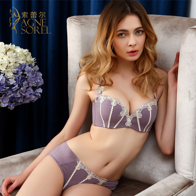 b156f80bc53b22 Get Quotations · Suo leier summer in europe and america sexy bra set gather  small chest embroidery adjustable underwear