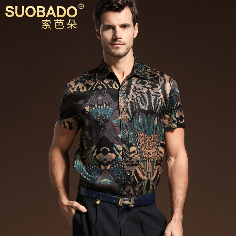 Suoba flower business casual men's silk buttercup silk shirt printed silk blouse silk shirt