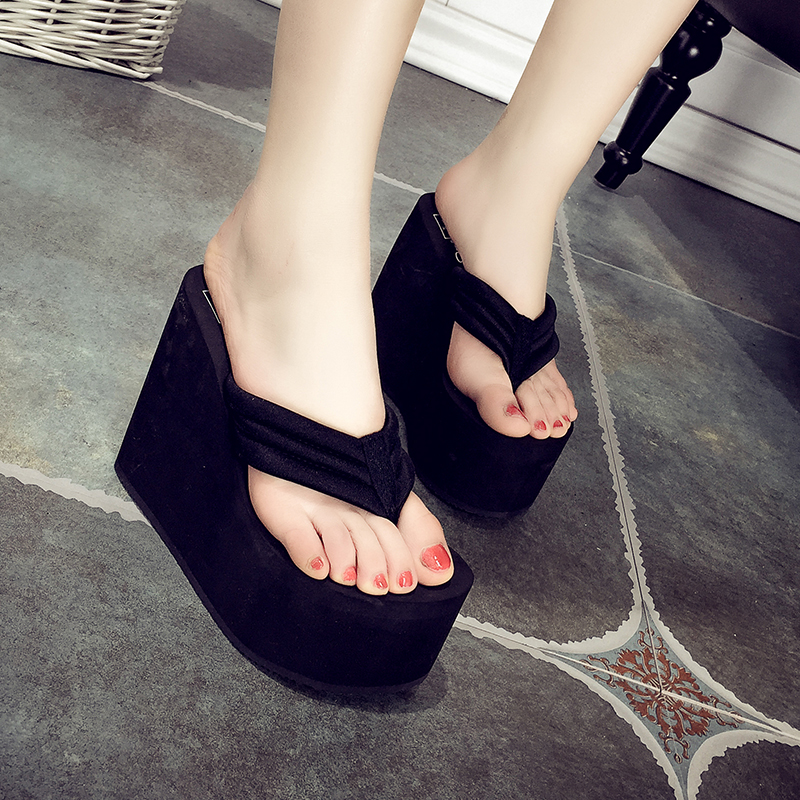 8f379a590 Get Quotations · Super high heels sandals female summer fashion flip flops  slope with thick crust muffin waterproof sandals