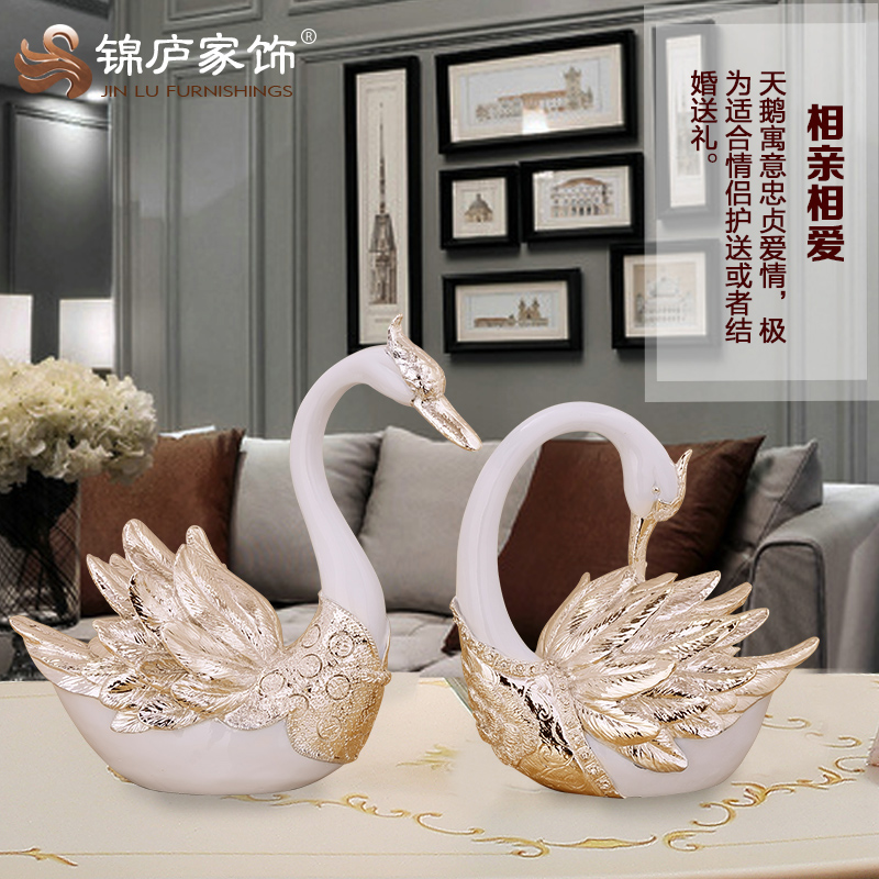 Swan ornaments home decorations living room tv wine a couple of european creative wedding gift resin crafts