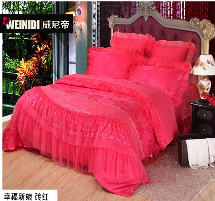 Sweeney emperor big red cotton denim wedding princess pink lace bed skirt style wedding wedding bedding