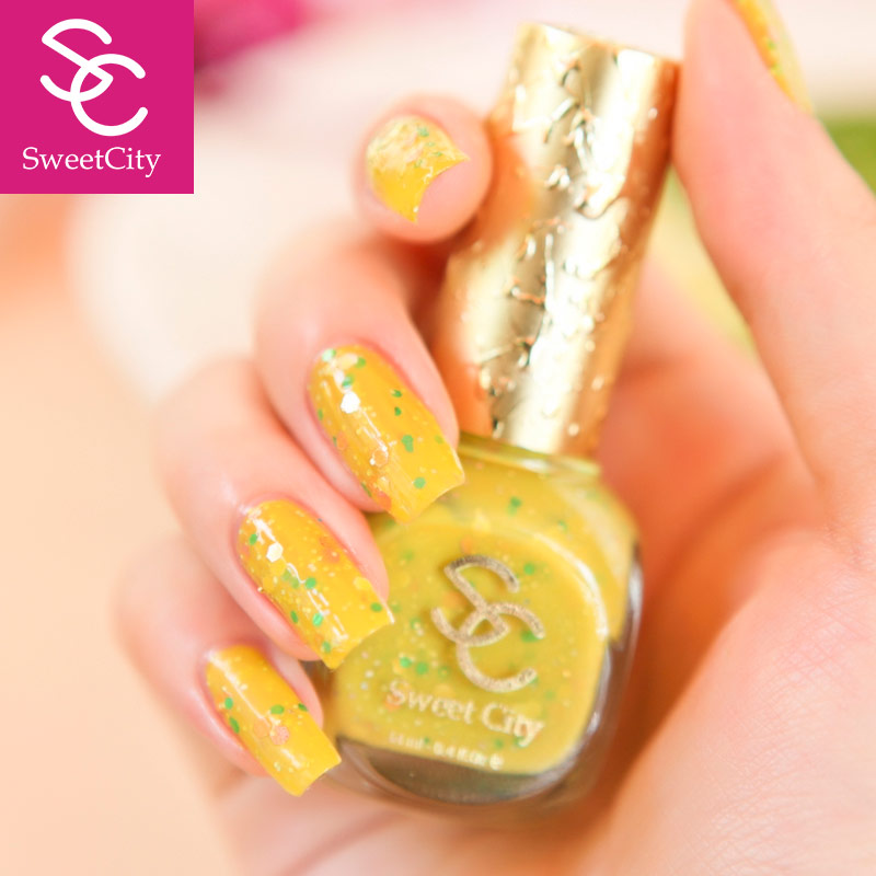 Sweet city/urban green nail polish sweetheart lasting solid color macarons yellow flash chip mm258