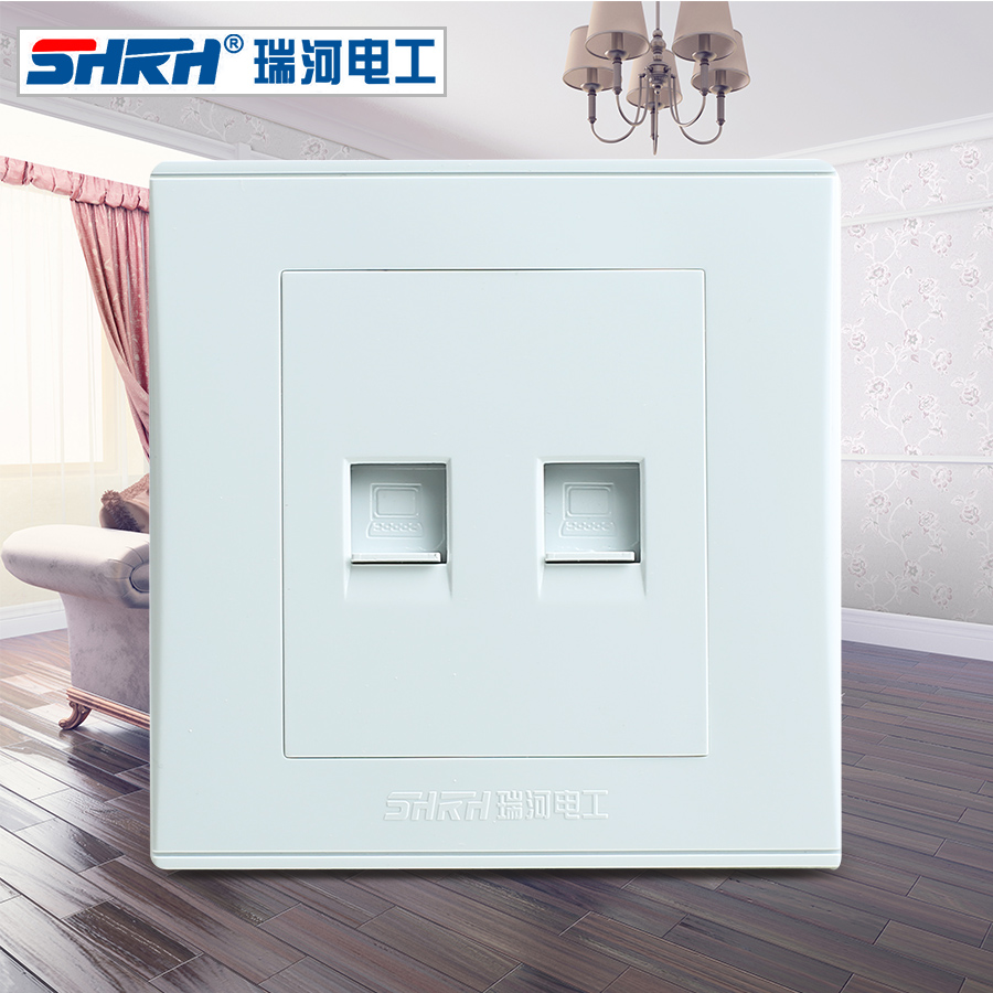 Swiss river double computer socket 86 type elegant white biconnectivity network cable socket wall switch panel socket