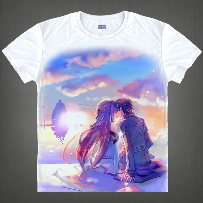 Sword art online sword art online asuna kazuto short sleeve t-shirt around japan 19