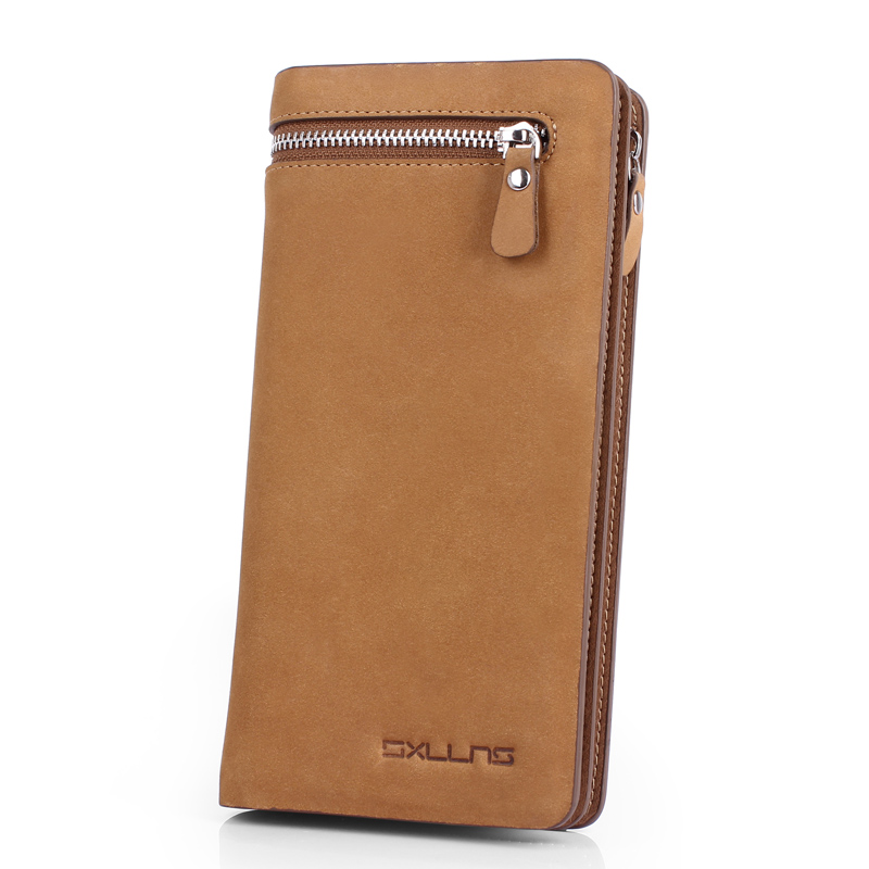 Sxllns new men's wallet long section retro leather wallet men wallet leather wallet genuine leather clutch