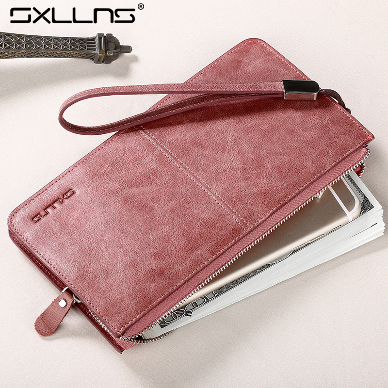Sxllns2016 new female wallet long section of leather zipper clutch wallet leather wallet korean version of the small fresh