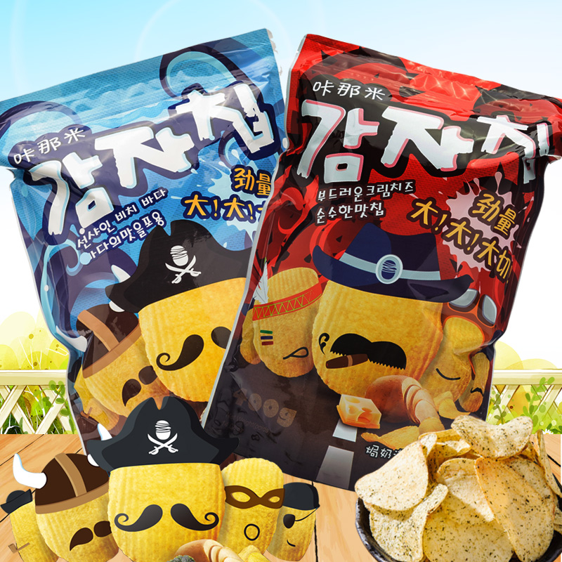 Taiwan imported cracking oversized bag that rice puffed potato snack food creamy salted seaweed combination