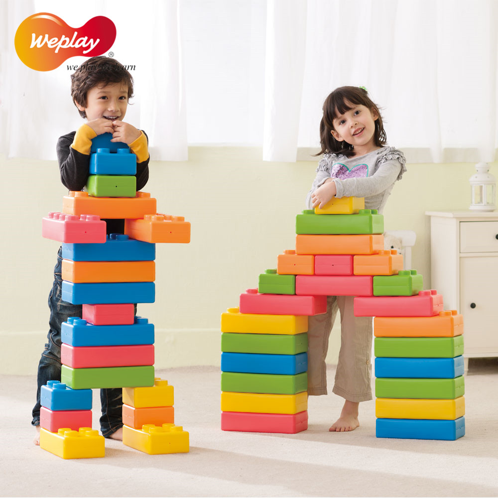 Taiwan original weplay kindergarten children's toys product large construction to build a quiet tone color shape blocks