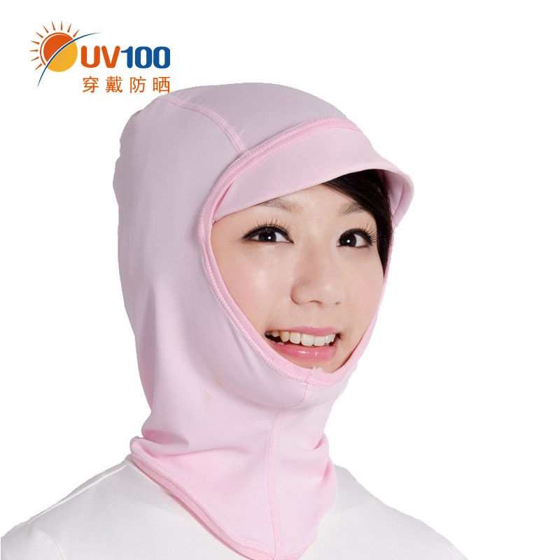 Taiwan uv100 summer cool feeling lightweight breathable professional head sleeve cycling uv sunscreen neck protection hat 13096