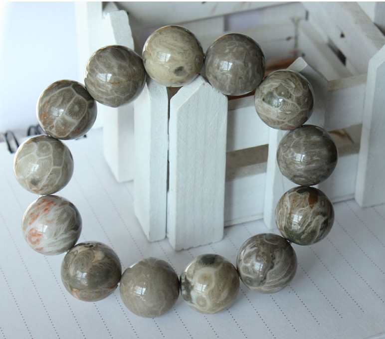 Talasite bingpo genuine fossil coral fossil coral jade bracelet large chrysanthemum madrepore bracelet variety