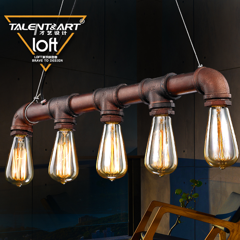 Talent loft american vintage wrought iron chandelier creative personality industrial wind pipe chandelier restaurant cafe bar