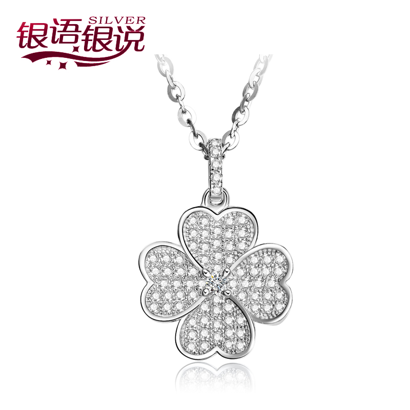 Talking fashion clover pendant in silver silver necklace s925 silver pendant classic female clavicle chain silver jewelry