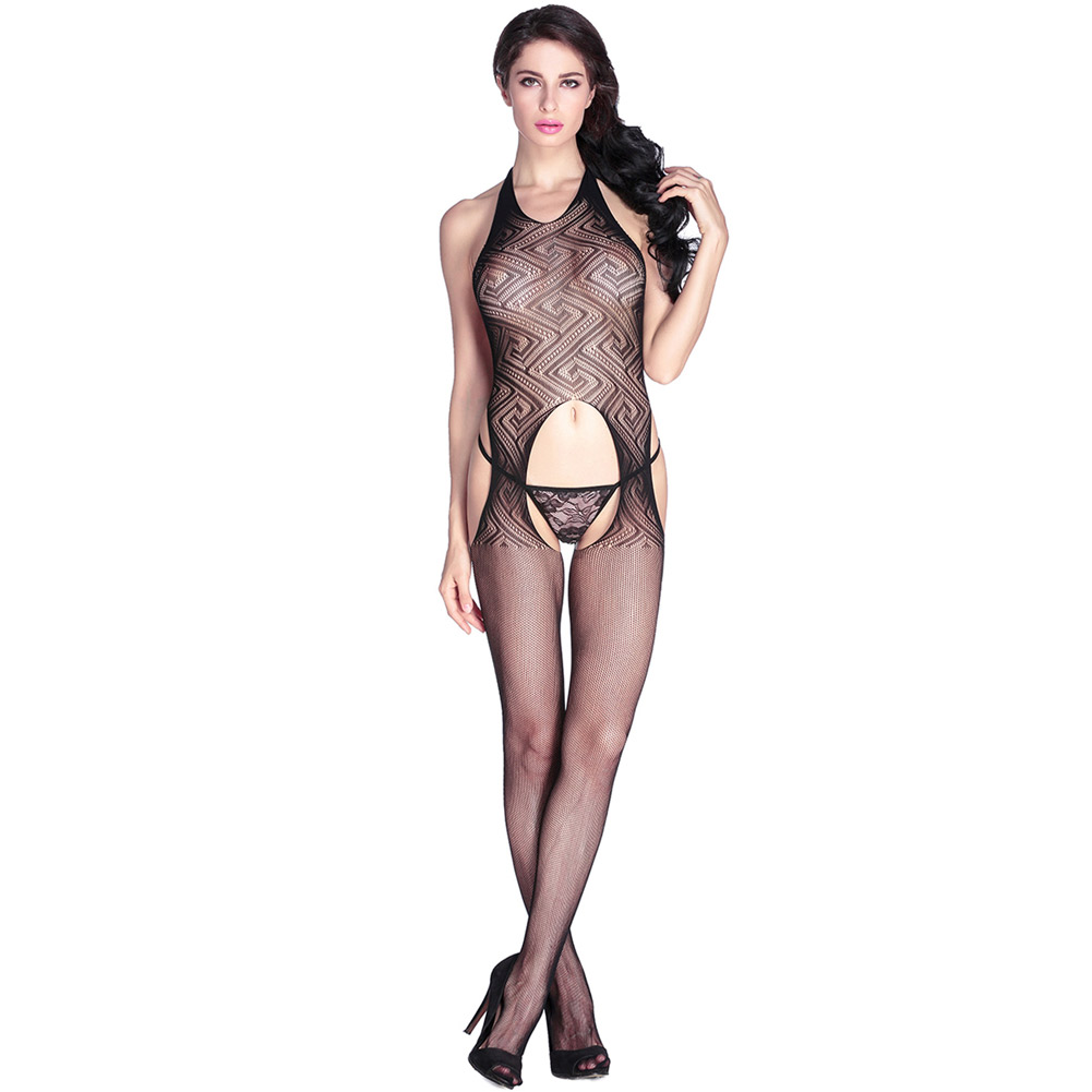fed25423e54 Get Quotations · Tanabata valentine s day black round neck babydoll halter  openwork lace halter open crotch piece coveralls socks