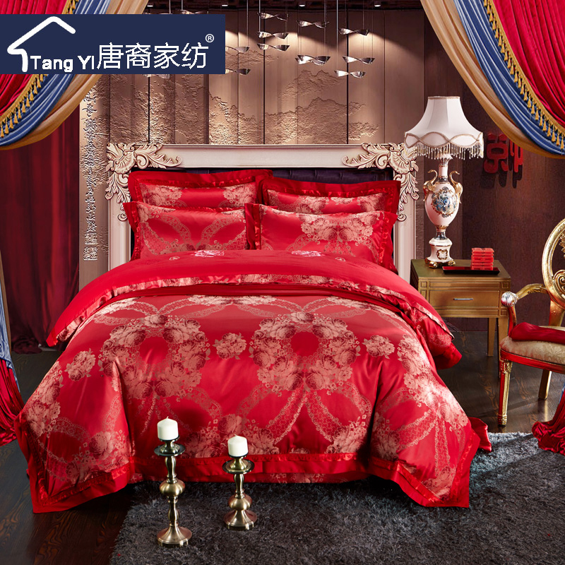 Tang ethnic european textile cotton satin jacquard cotton denim wedding quilt bedding cotton denim