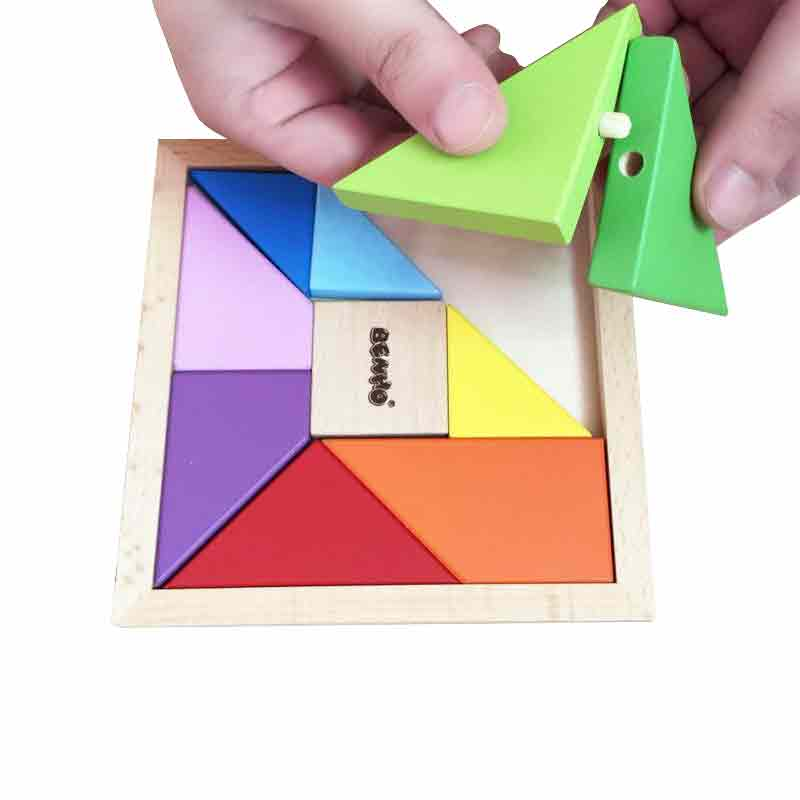 Tangram puzzle wooden play family 10 column with a link to any rotating three-dimensional jigsaw puzzle jigsaw puzzle children toy building blocks