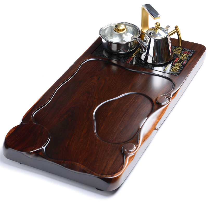 Tao blessing ebony 《 heyday 》 inblock ebony wood tea tray kung fu tea sea large tea sets tea