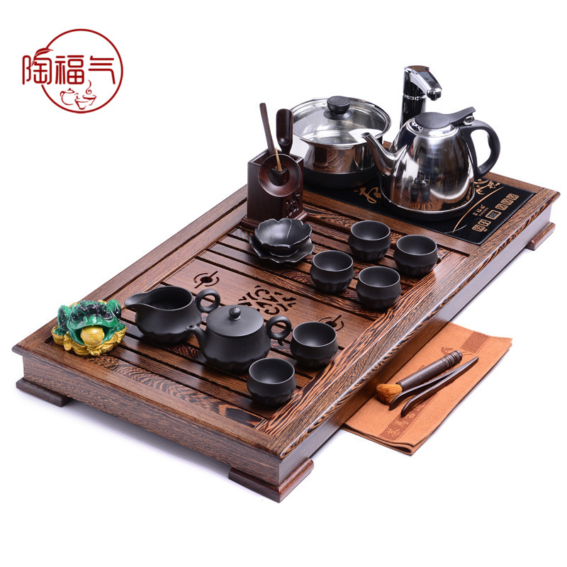 Tao blessing wenge 《 》 dragon mahogany solid wood tea tray yixing tea sets tea tray tea sea station