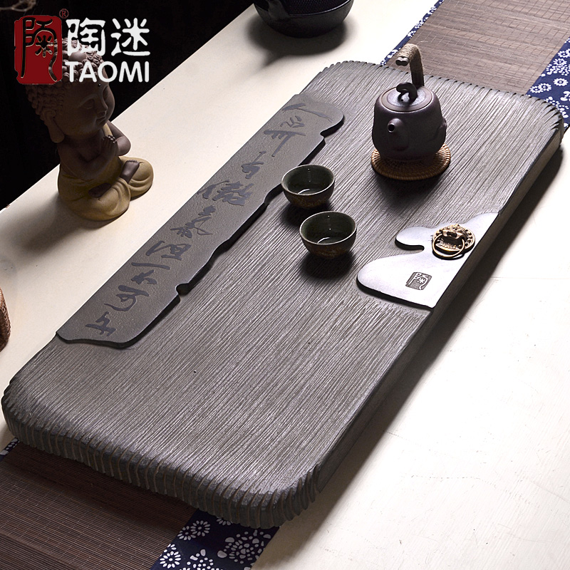 Tao fans bronze stone stone tea tray black stone stone tea sets tea tray tea tray vintage wooden boat chinese tea table tea table shipping