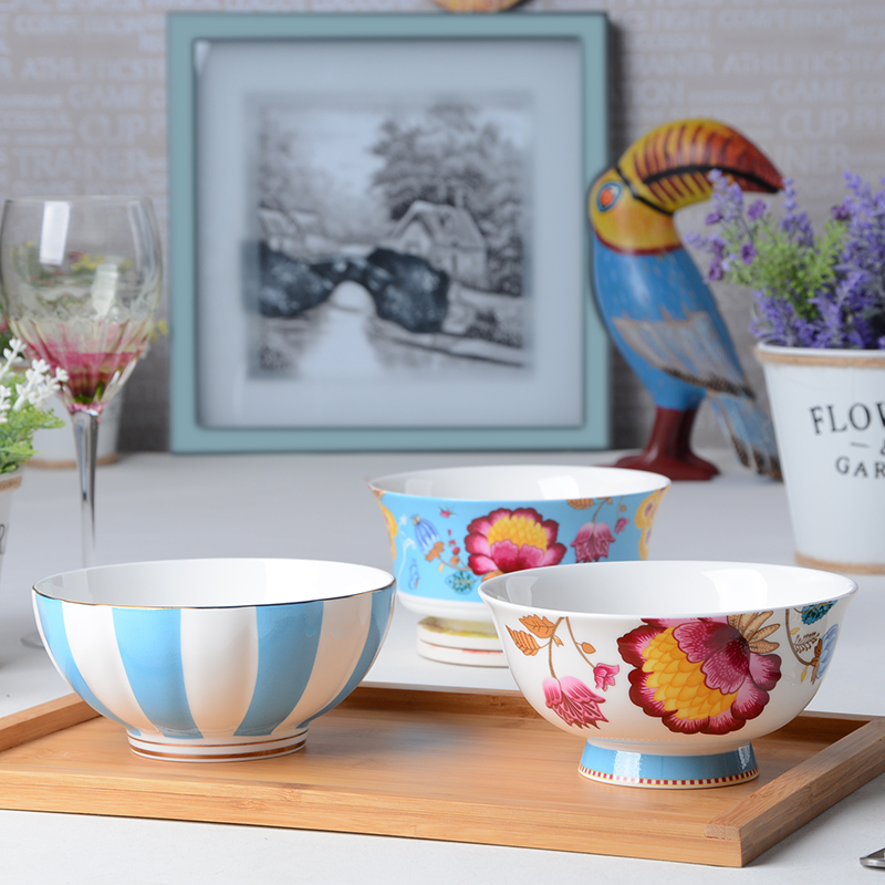 Tao garden dream home korean creative bone china bowl rice bowl tall bowl bowl of fruit salad bowl soup bowl size