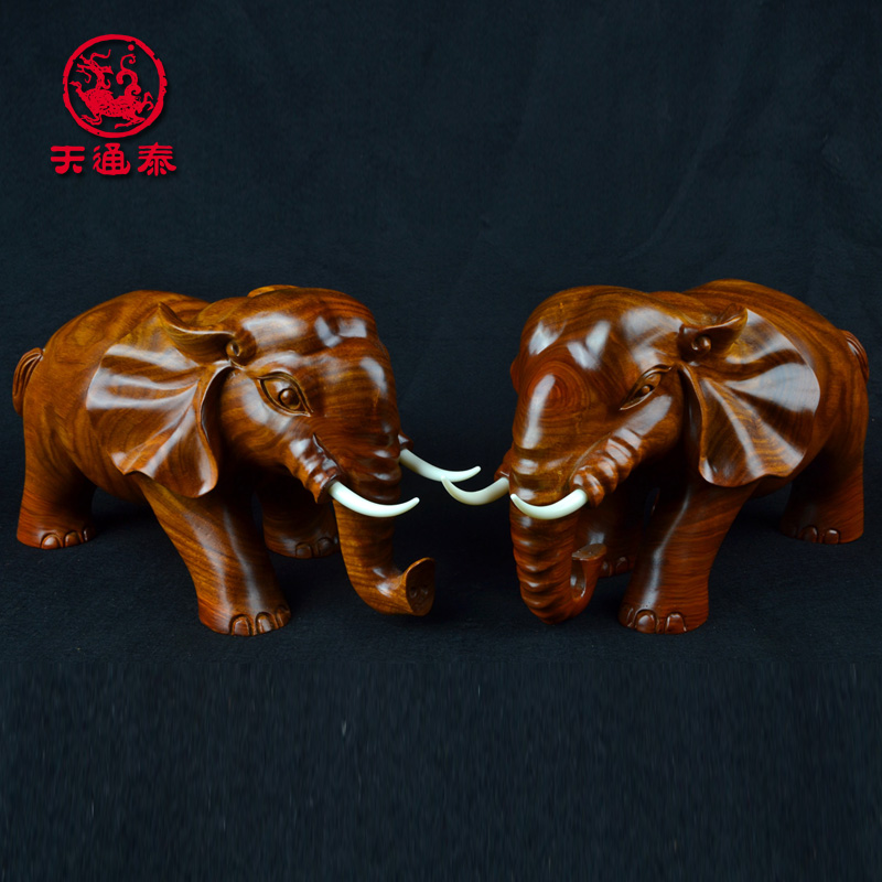 Target object wishful elephant ornaments one pair of animals african pear wood carving wood carving wood crafts