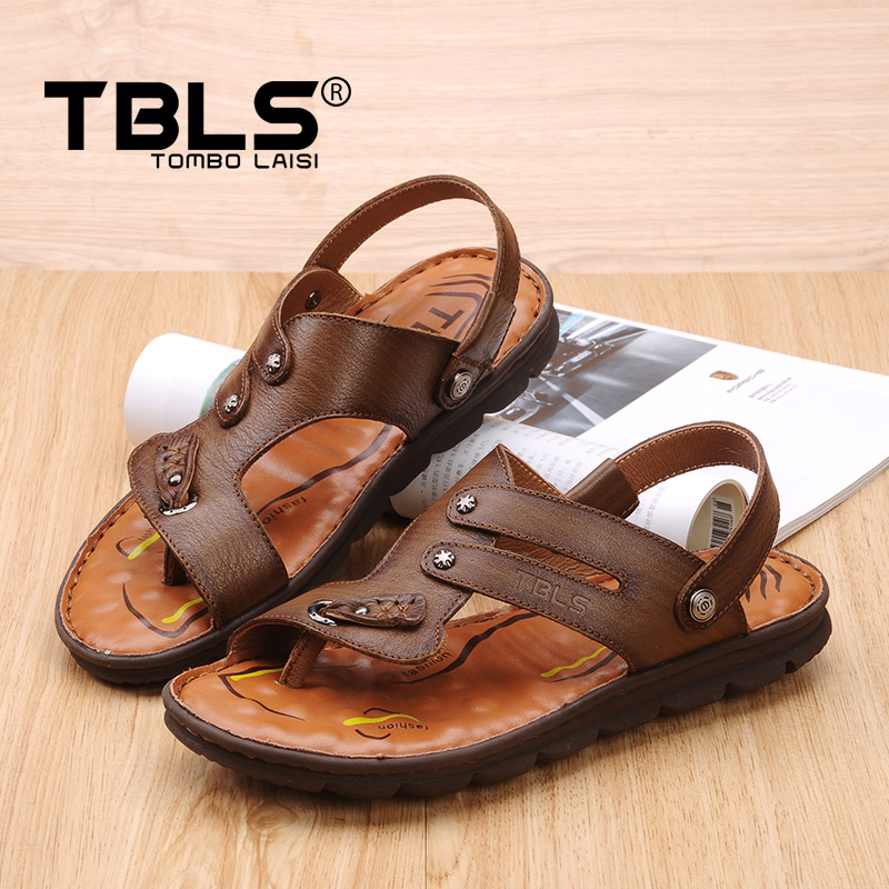 3b4b1a29040a5c Get Quotations · Tbls soup rice platinum summer new leather men s first  layer of leather sandals beach shoes