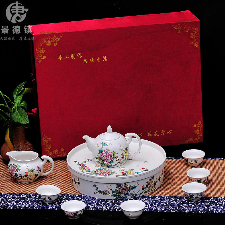 Td entire household tea set kung fu tea special eggshell jingdezhen ceramic teapot cup tea tray drinkware
