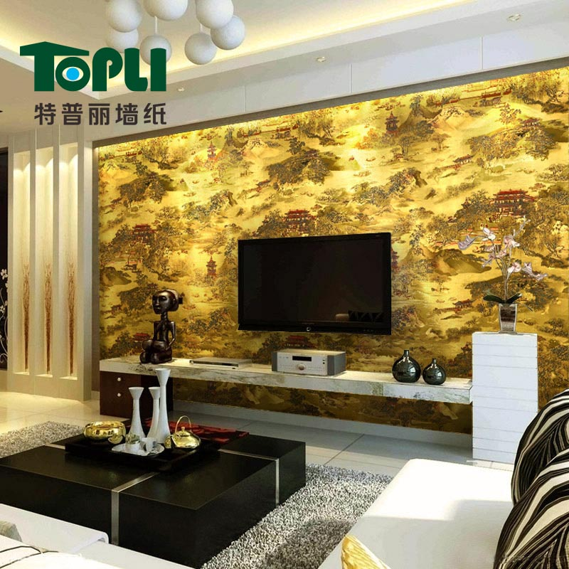 Get Quotations Te Puli Wallpaper Gold Foil Modern Chinese Landscape Painting Three Dimensional Whole Living Room
