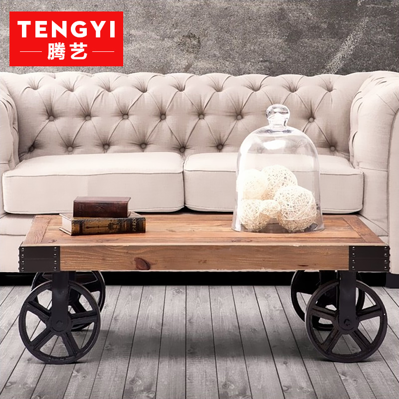 Teng yi wood american to do the old retro rust imitation wrought iron coffee table desk table models of old coffee table coffee table table table