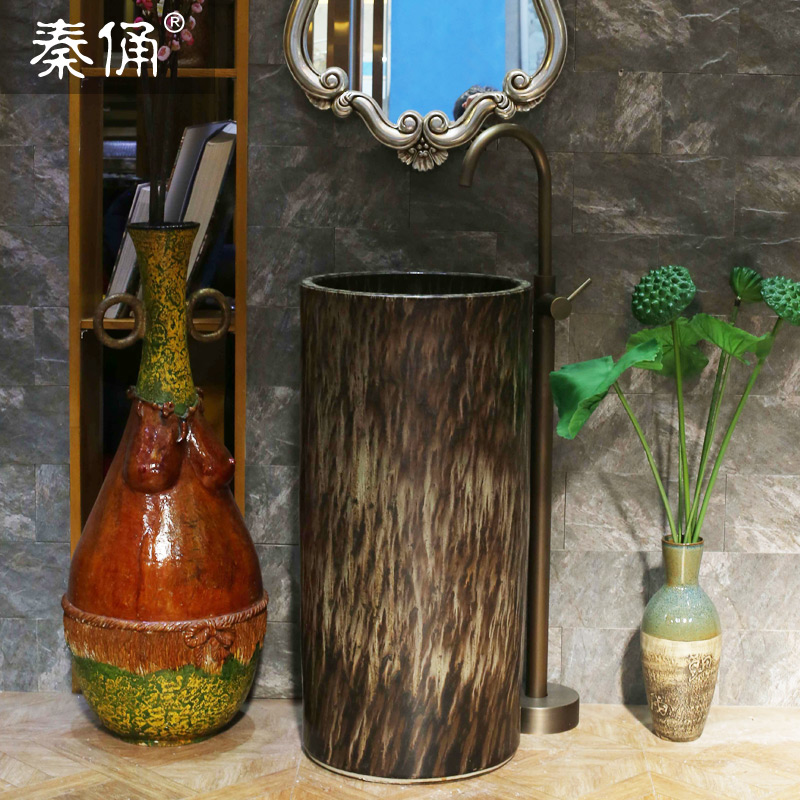 Terracotta warrior column pedestal basin pedestal washbasin art basin pedestal basin wash basin ceramic wash basin pedestal basin column
