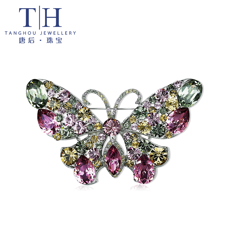 Th/after th tang tang after ms. european and american fashion crystal butterfly brooch crystal brooch sweater chain pendant