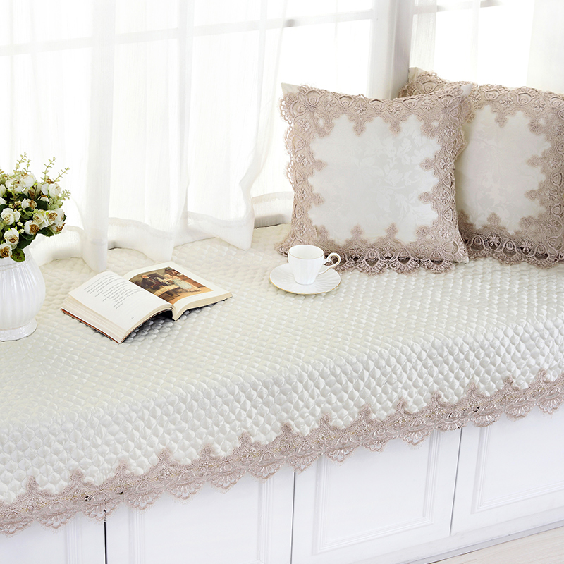 Thailand embroidered continental bay window sill mat tatami mat bedroom windows and lace fabric seat cushion new bathmat