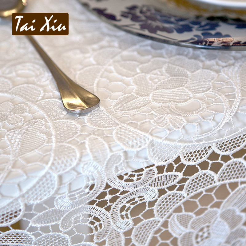 Thailand embroidered european white full hollow lace table cloth tablecloth tea table cloth embroidered tablecloths white color square