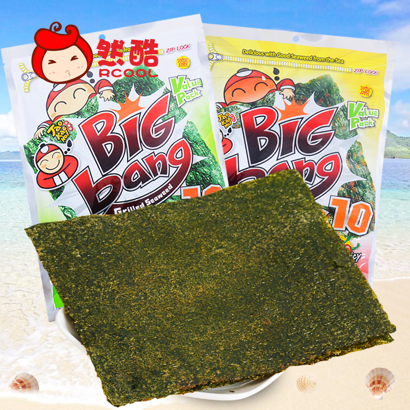 Thailand imported bigbang ready crisp nori seaweed small business owners to large roasted seaweed nori sheet zero food 60g/bag