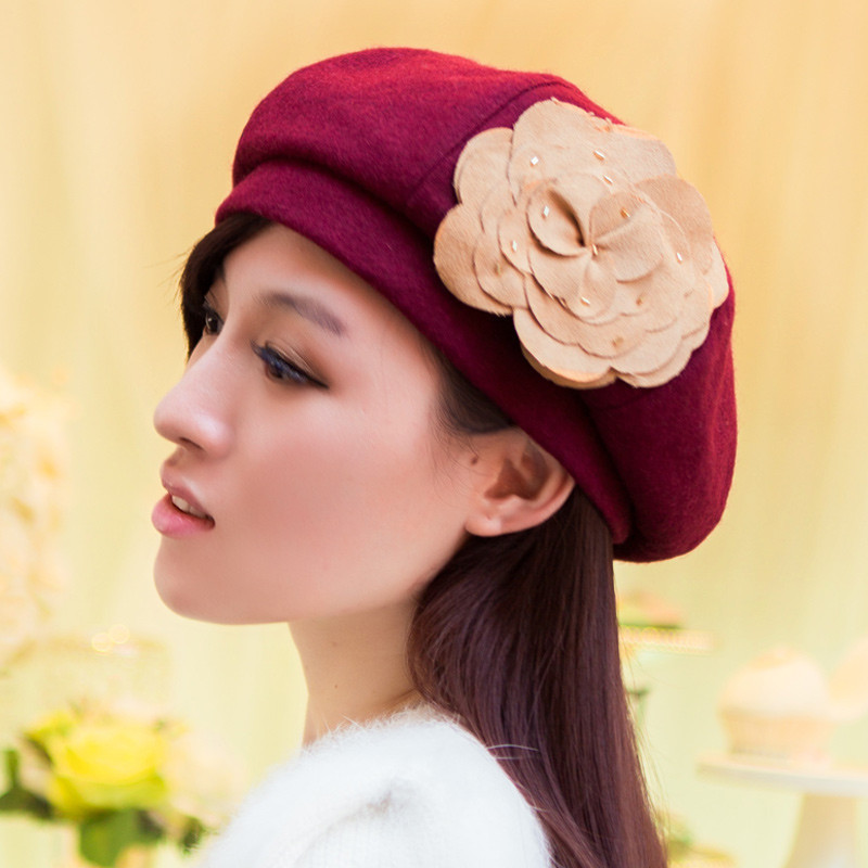Thantrue korean wool hat in spring and autumn winter bucket hats beret hat millinery casual burgundy flowers
