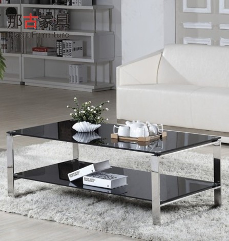 That ancient guangdong brand herculite modern simple parlor sofa office coffee table coffee table coffee table stainless steel frame
