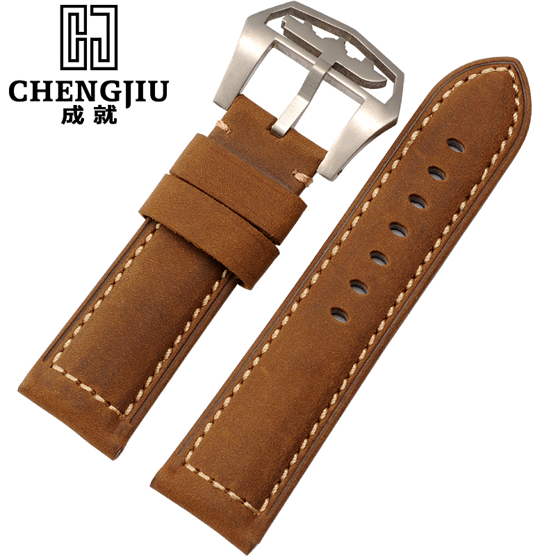 The achievements of the italian retro crazy horsehide leather strap watch men watch band 24mm panerai pam111