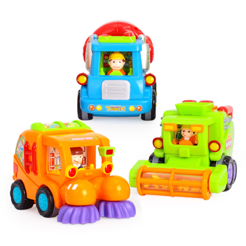 The department of music toy DS102 car engineering team inertia car puzzle early childhood cartoon baby toy car a total of 3 only
