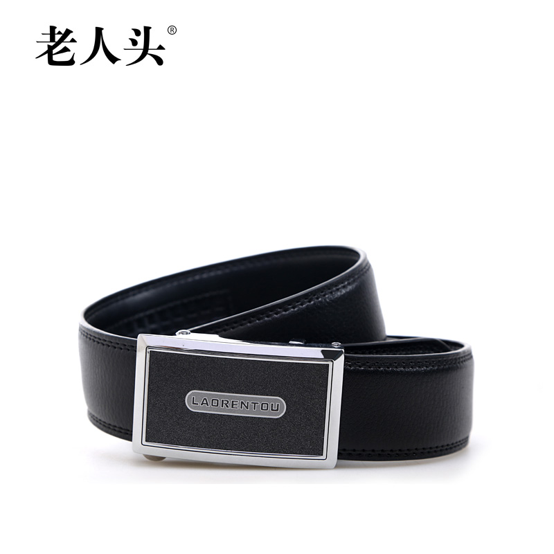 The elderly head men's leather belt male korean tidal fashion automatic buckle belt leather casual leather wide belt