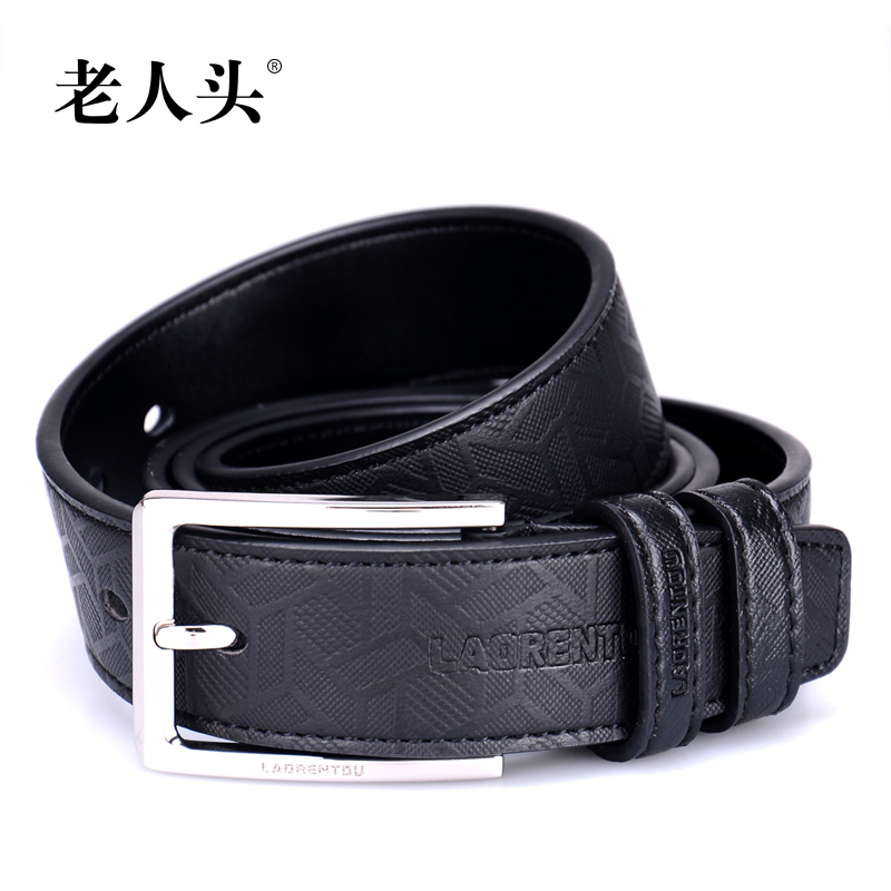 The elderly head men's leather belt metal buckle quality wild business casual leather belt embossing process