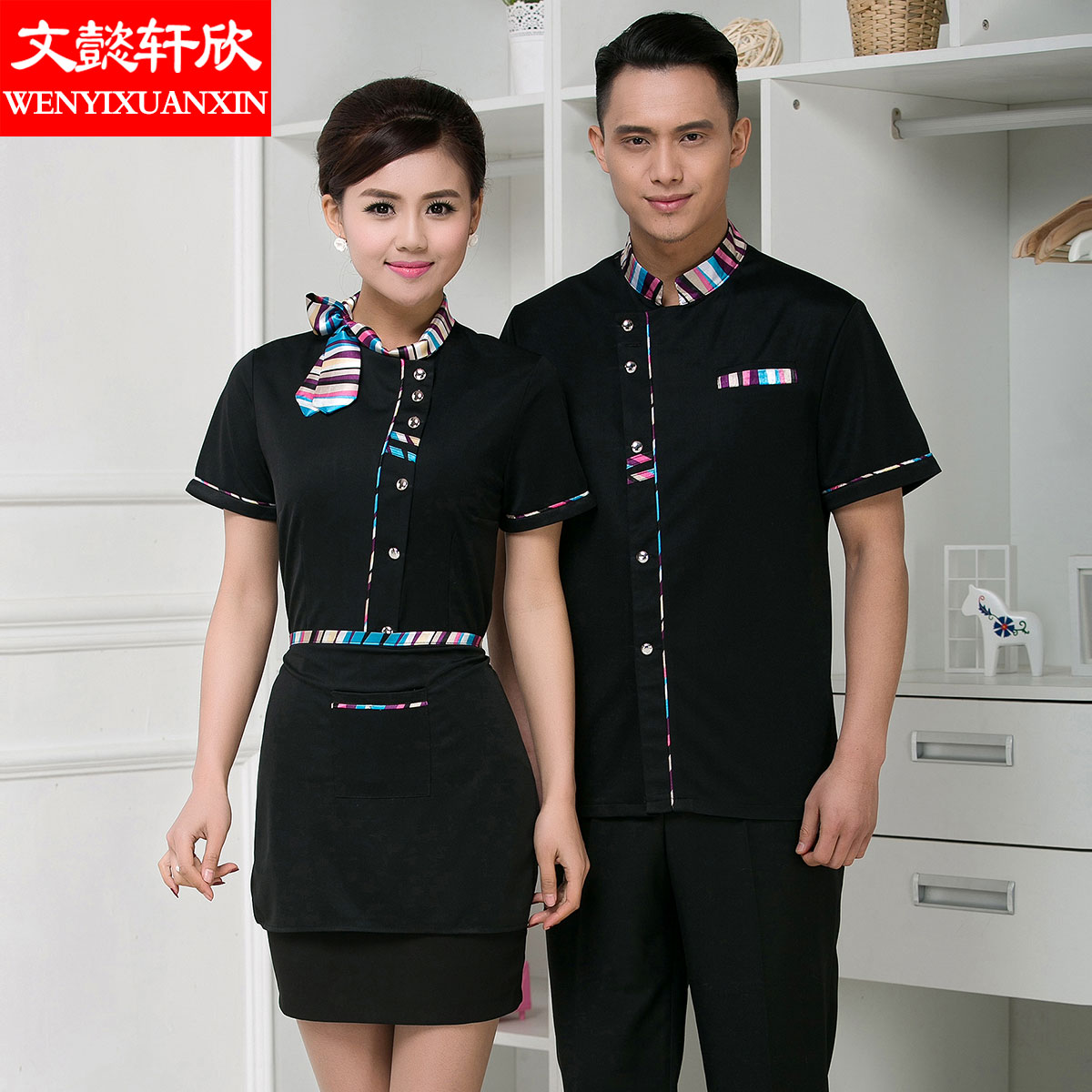 The hotel waiter overalls overalls summer clothes for men and women short sleeve summer hotel waiter uniforms short sleeve