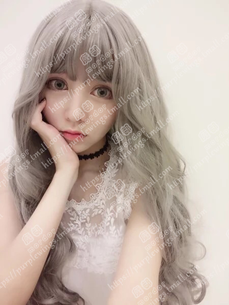 The magic cosplay wig lolita daily smoke gray long hair fluffy big wave original su sen female