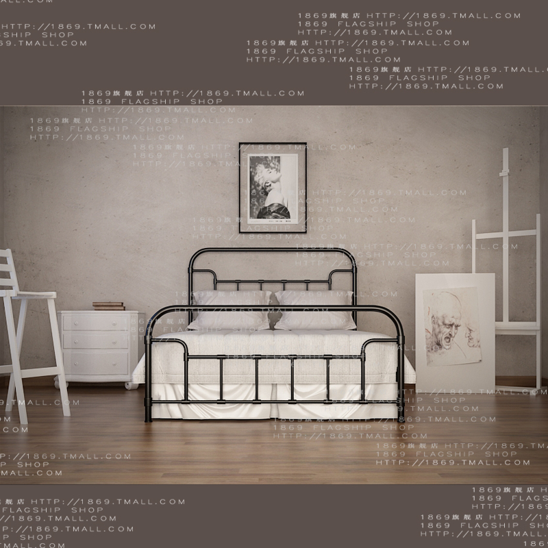 The new 1869 nordic simple wrought iron metal bed 1.5 double bed 1.8 beds iron bedstead 1.2 g004