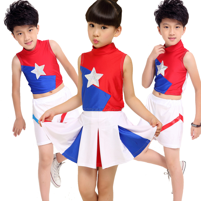 The new 2016 spring and summer student female models cheerleading apparel cheerleading football baby cheerleading team performance clothing costumes for children