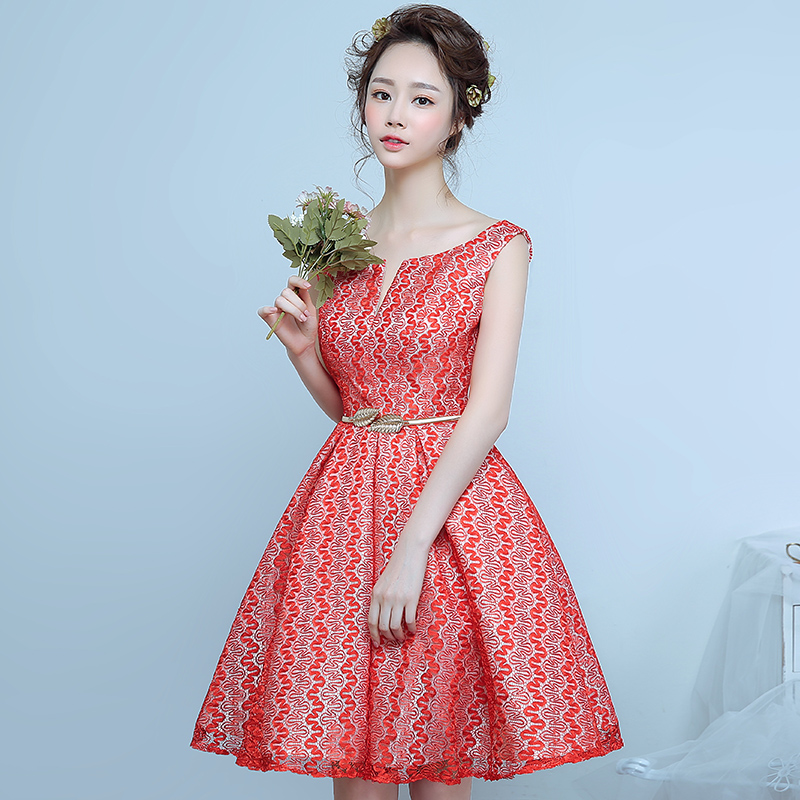 The new 2016 spring and summer wedding dress short dress toast clothing bridesmaid dress bridesmaid group wedding dress red evening dress