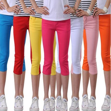 The new 2016 summer stretch pant female summer candy colored casual trousers slim korean version was thin horse in